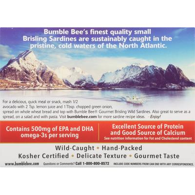Bumble Bee Gourmet Brisling Wild Sardines in Extra Virgin Olive Oil
