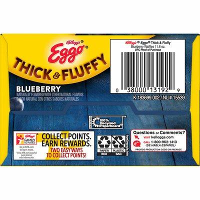 Eggo Thick and Fluffy Frozen Waffles, Frozen Breakfast, Belgian Style, Blueberry