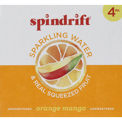 Spindrift Sparkling Water, Unsweetened, Orange Mango, 4 Pack