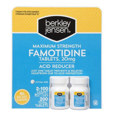 Berkley Jensen Maximum Strength Famotidine Acid Reducer Tablets, 20 mg
