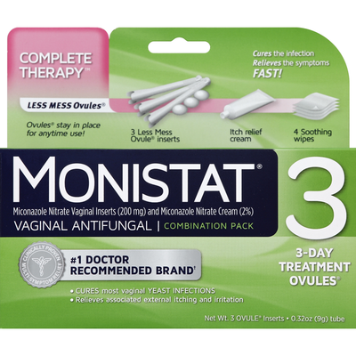 MONISTAT Vaginal Antifungal 3 Day Treatment Ovules Combination Pack