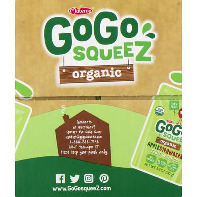 GoGo Squeez Organic Applesauce, Variety Apple Strawberry Cinnamon/Banana