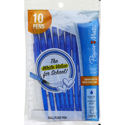 Paper Mate Ball Point Pens, Medium Point (1 mm), Blue Ink