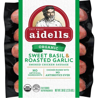 Aidells Smoked Chicken Sausage, Sweet Basil & Garlic, 36 oz. (12 Fully Cooked L