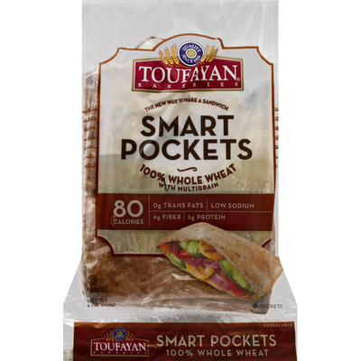 Toufayan Smart Pockets, 100% Whole Wheat, with Multigrain