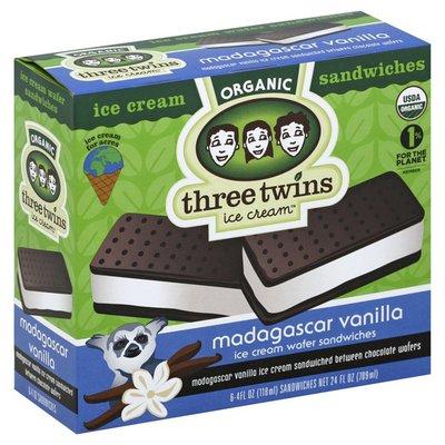 Three Twins Ice Cream Sandwiches, Organic, Madagascar Vanilla