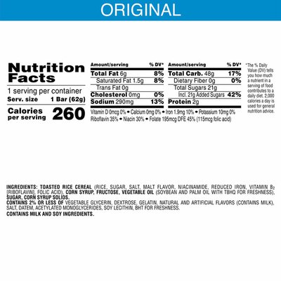 Kellogg's Rice Krispies Treats Marshmallow Snack Bar, Kids Snacks, School Lunch, Original