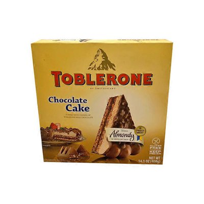 Almondy Chocolate Topped with Chunks Of Toblerone Milk Chocolate Cake