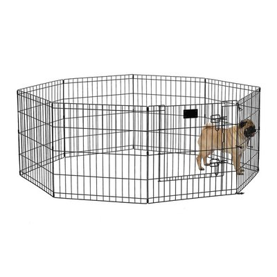 """Midwest Homes for Pets 8-Panel 24"""" x 24"""" Black Pet Exercise Pen With Door"""