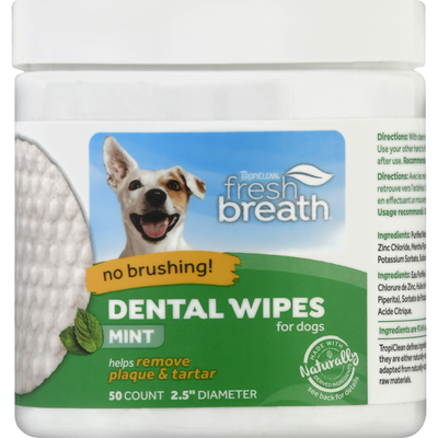Tropiclean Dental Wipes for Dogs, Mint