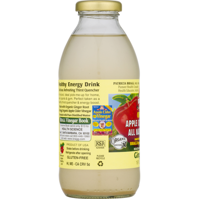 Bragg Organic Apple Cider Vinegar All Natural Drink Ginger Spice