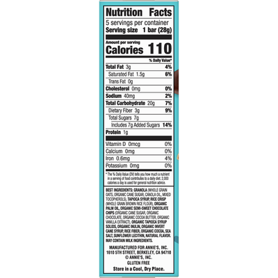 Annie's Gluten Free Chewy Granola Bar, Double Chocolate Chip, 5 Count