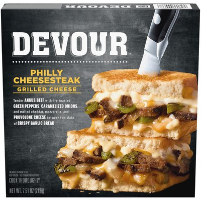 Devour Philly Cheesesteak Grilled Cheese with Roasted Green Peppers & Carmelized Onions Frozen Meal
