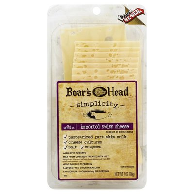 Boar's Head Cheese, Swiss, Imported, All Natural