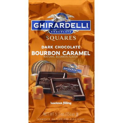 Ghirardelli Dark Chocolate, Bourbon Caramel, Squares