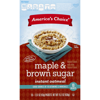 America's Choice Oatmeal, Instant, Maple & Brown Sugar