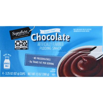 Signature Kitchens Pudding Snack, Sugar Free, Chocolate, 4 Pack