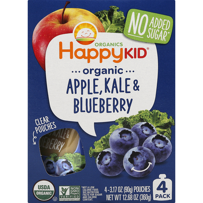 Happy Family Apple, Kale & Blueberry, Organic, 4 Pack
