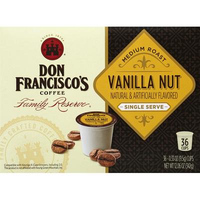 Don Francisco's Coffee, Medium Roast, Vanilla Nut, Single Serve Cups