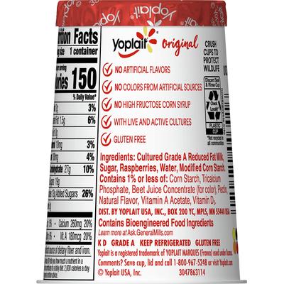 Yoplait Yogurt, Low Fat, Red Raspberry, Original