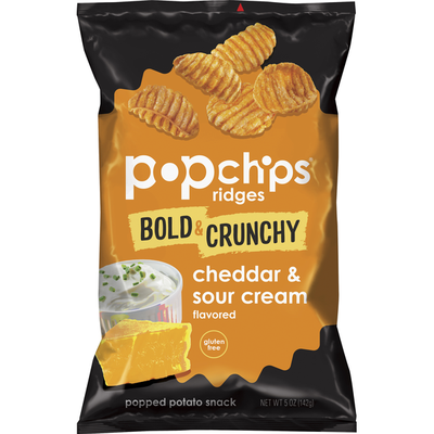 popchips Popped Potato Snack, Cheddar & Sour Cream Flavored, Ridges, Bold & Crunchy