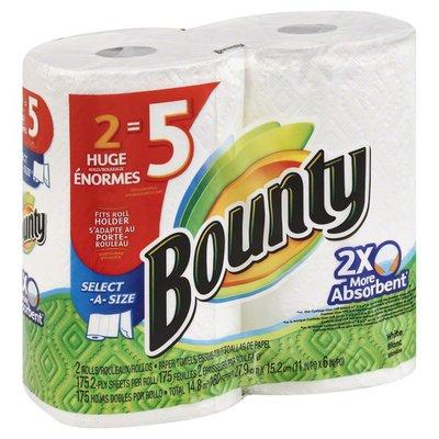 Bounty Select-A-Size Paper Towels, White, 2 Huge Rolls = 5 Regular Rolls  Towels/Napkins