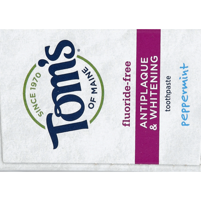 Tom's of Maine Toothpaste, Natural, Fluoride-Free, Peppermint