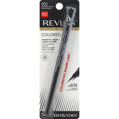 Revlon Liquid Eye Pen, Dramatic Wear, Blackest Black 003, Ultra Thin Tip