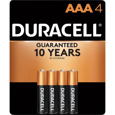 Duracell Batteries, Alkaline, AAA, 1.5 V, 4 Pack