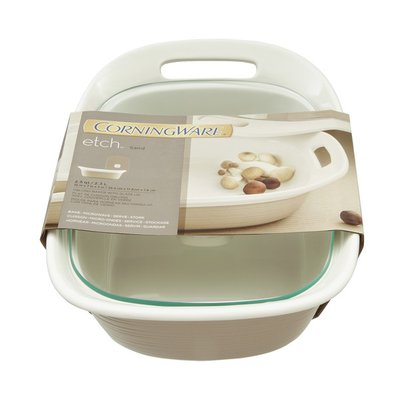 CorningWare Etch Oblong Baker With Glass Lid Sand - 2.5 QT