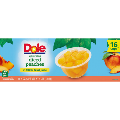 Dole Peaches in 100% Fruit Juice, Yellow Cling, Diced