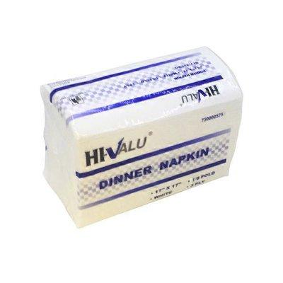 "Hi Valu Case of 17"" X 17"" 3 Ply 1/8 Fold White Dinner Napkin"