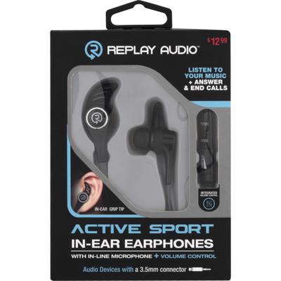 Replay Audio In-Ear Earphones, Active Sport, Pre-Priced $12.99, Box