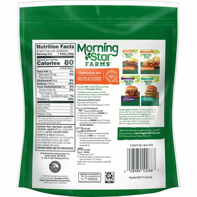Morning Star Farms Meatless Sausage Patties, Plant Based Protein, Frozen Breakfast, Original