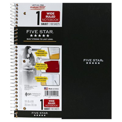 Five Star Notebook, 1 Subject, Wide Ruled, 100 Sheets