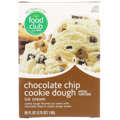 Food Club Chocolate Chip Cookie Dough Flavored Ice Cream With Chocolate Chips & Cookie Dough Pieces