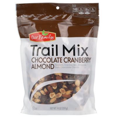 Our Family Chocolate Cranberry Almond Peanuts, Cranberries, Almonds, Dark Chocolate Chunks Trail Mix
