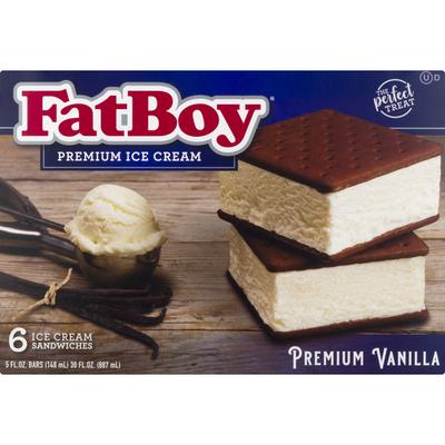 FatBoy Ice Cream Sandwiches, Premium, Vanilla