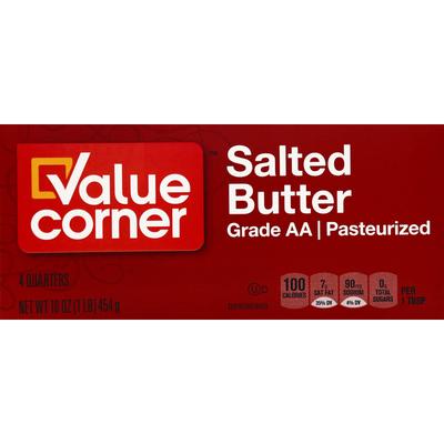 Value Corner Butter, Salted, Quarters