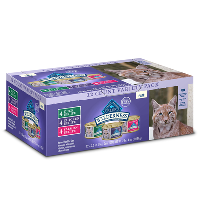 Blue Buffalo Wilderness High Protein Grain Free, Natural Adult Pate Wet Cat Food Variety Pack, Chicken, Salmon, Duck