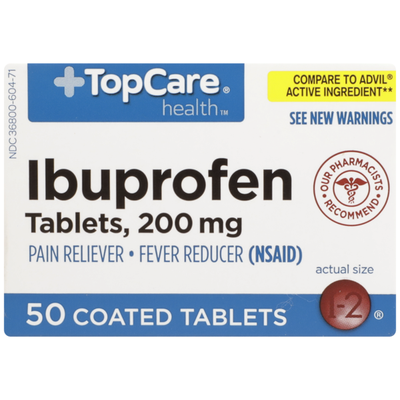 TopCare Ibuprofen 200 Mg Pain Reliever/Fever Reducer (Nsaid) Coated Tablets