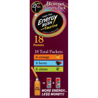 4C Foods Drink Mix, Sugar Free, Energy Rush, with Taurine, Bonus Variety Pack