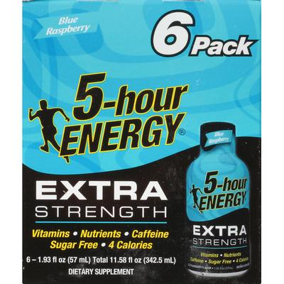 5-hour ENERGY Energy Shot, Blue Raspberry, Extra Strength, 6 Pack