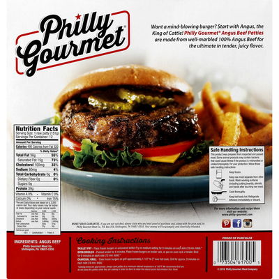 Philly-Gourmet Beef Patties, 100% Pure, Angus, 1/3 Pound