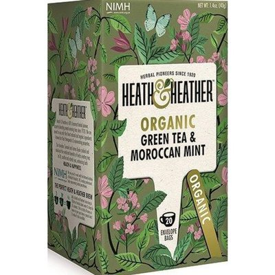 Heath & Heather Tea, Organic, Green Tea with Moroccan Mint, Envelope Bags