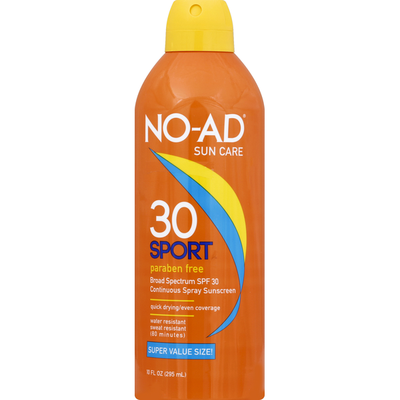 No-Ad Sunscreen, Sport, Continuous Spray, SPF 30, Super Value Size!