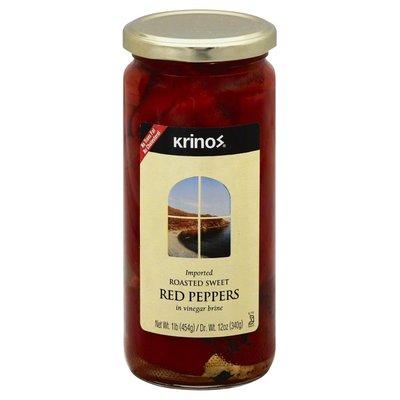 Krinos Red Peppers, Roasted Sweet, in Vinegar Brine