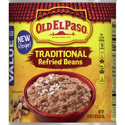 Old El Paso Refried Beans, Traditional, Value Size
