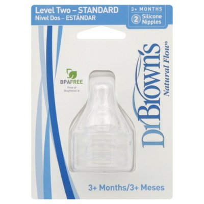 Dr Brown's Nipples, Level Two - Standard, Silicone, 3+ Months