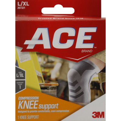 3M ACE™ Brand Compression Knee Support, Large/Extra Large, White/Gray, 1/Pack